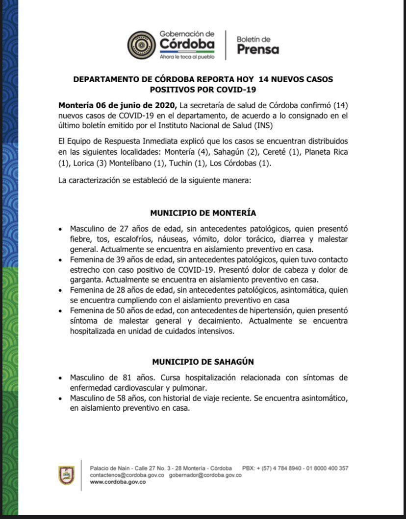 Coronavirus en el departamento de Córdoba