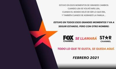 Fox Channel cambiará su nombre por Star Channel a partir de febrero